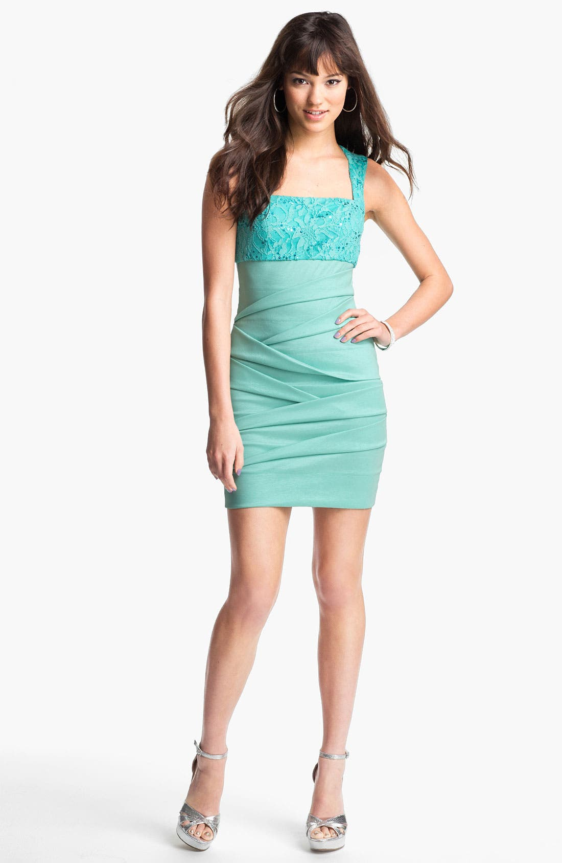 Alternate Image 1 Selected - Hailey Logan Lace & Sequin Body-Con Dress (Juniors) (Online Exclusive)