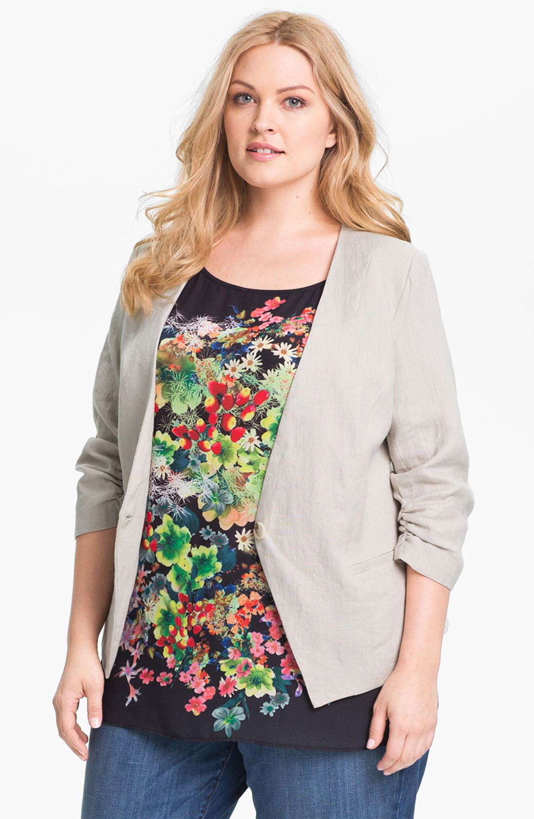 Alternate Image 1 Selected - Gibson Linen Blazer (Plus Size)