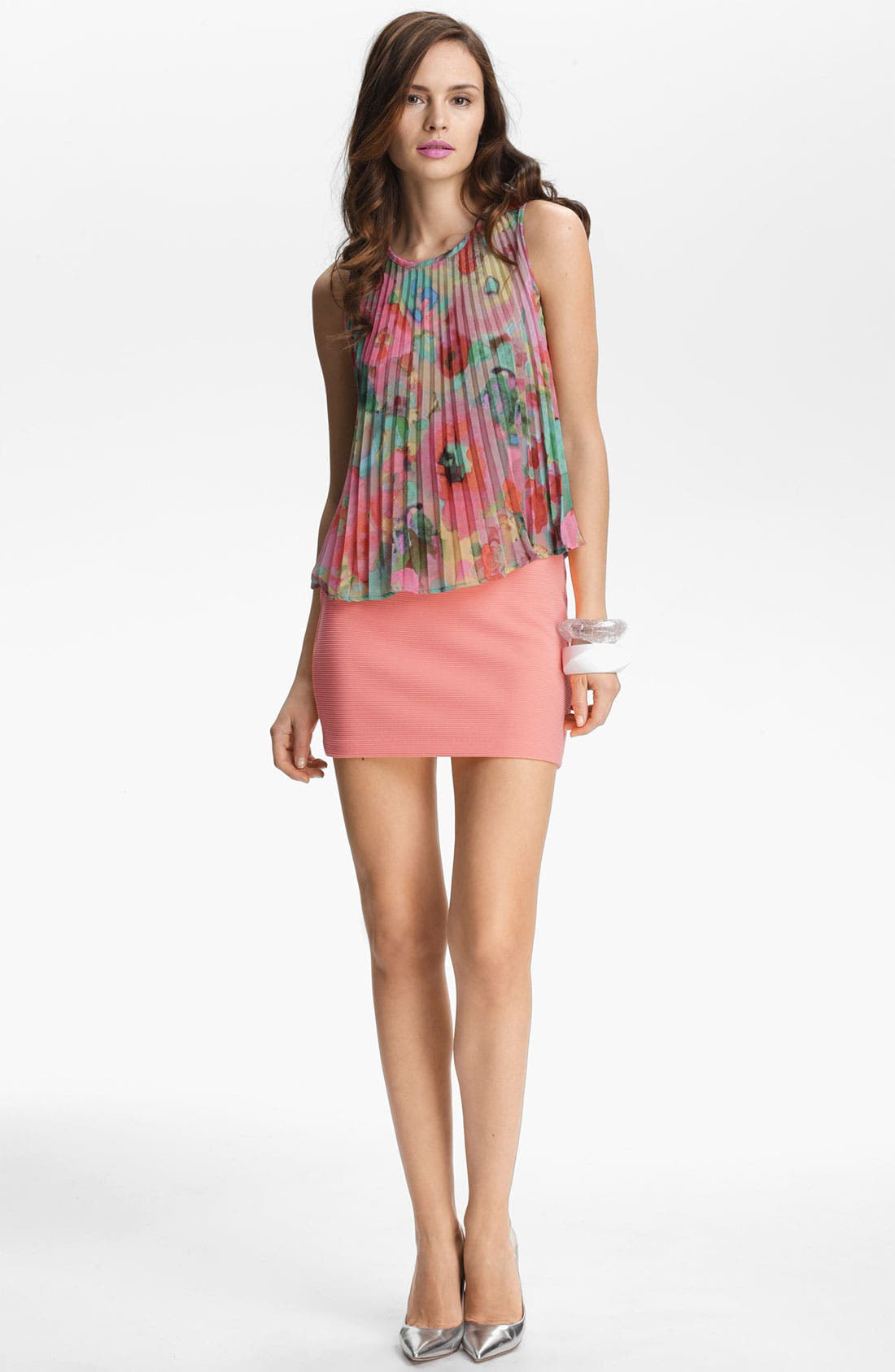 Alternate Image 2  - BB Dakota Watercolor Print Pleated Top