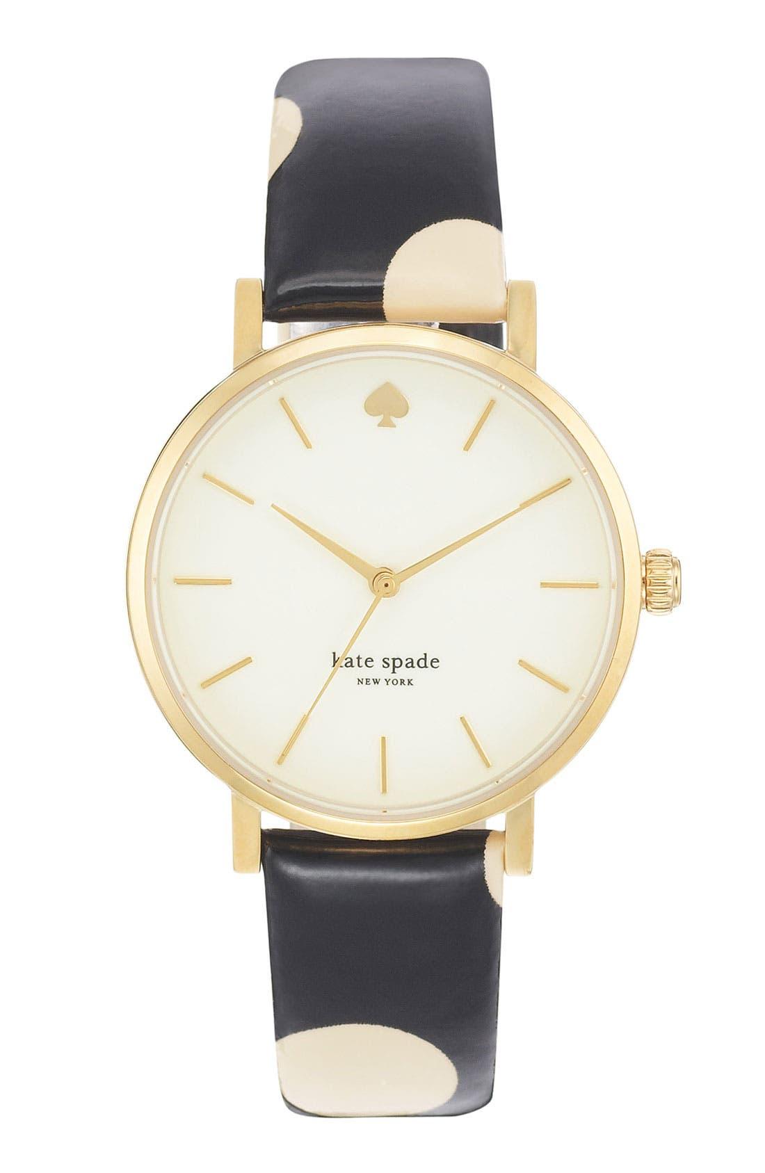 Main Image - kate spade new york 'metro' polka dot strap watch, 34mm