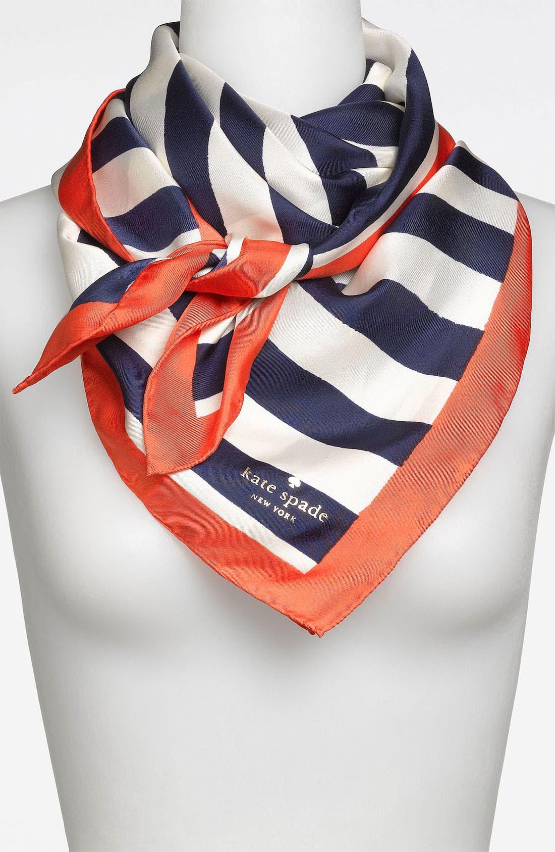 Alternate Image 1 Selected - kate spade new york 'colorblock brush stripe' silk scarf