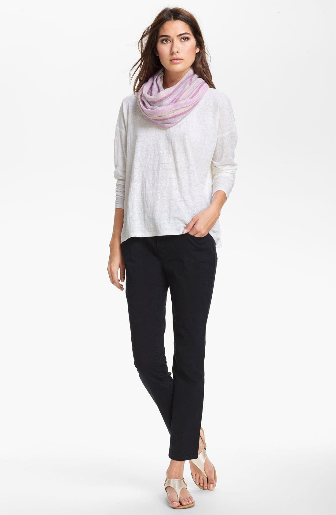 Alternate Image 4  - Eileen Fisher Ribbed Linen Top (Petite)