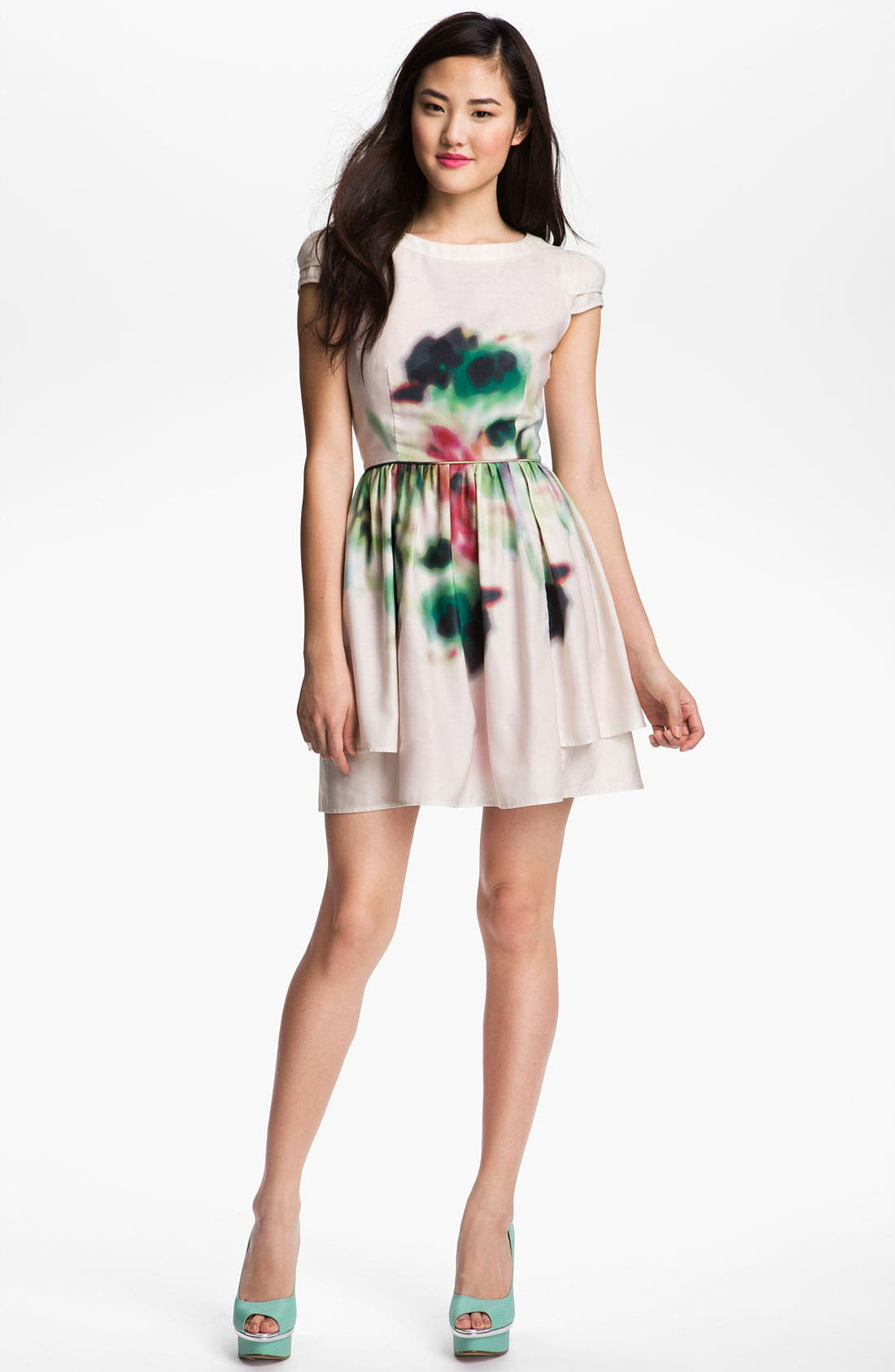 Main Image - Jessica Simpson Layered Print Fit & Flare Dress