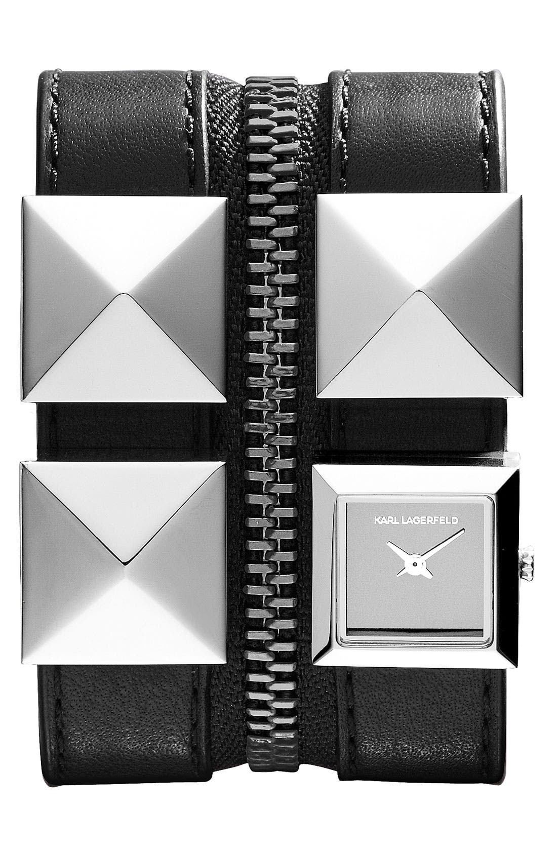 Alternate Image 1 Selected - KARL LAGERFELD Double Strap Cuff Watch, 17mm