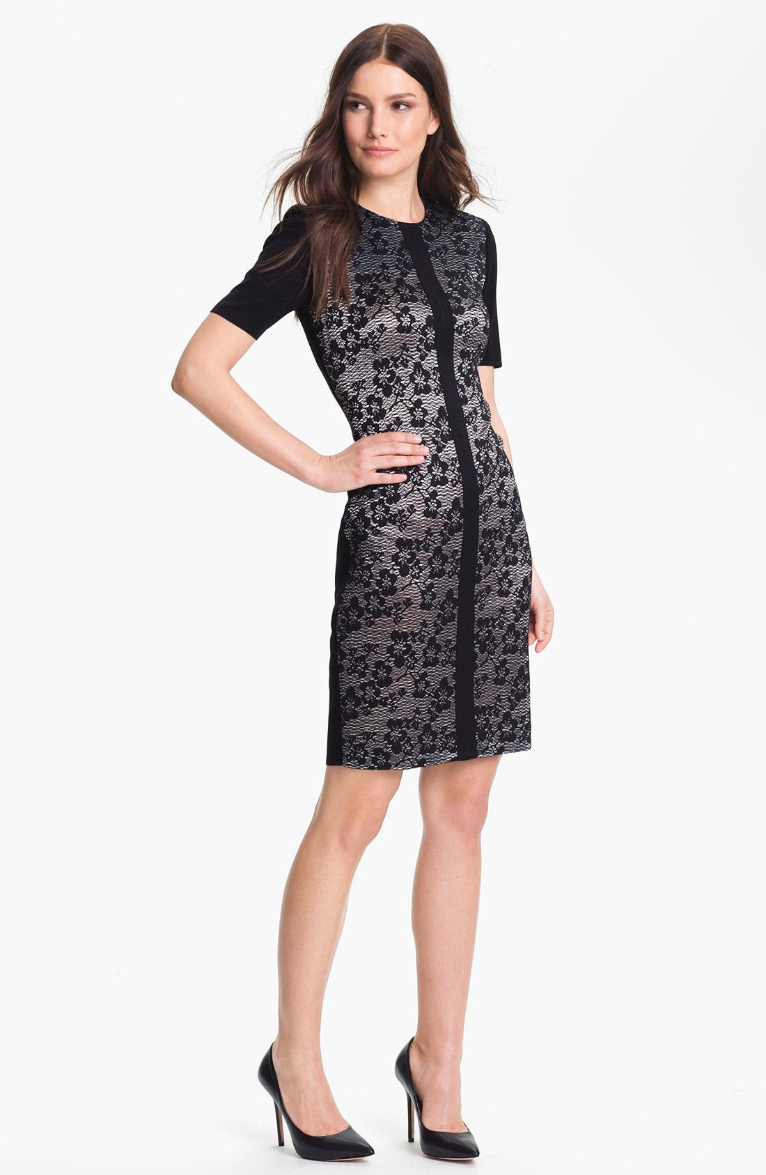Alternate Image 1 Selected - Exclusively Misook 'Eliza' Lace Front Dress (Petite)