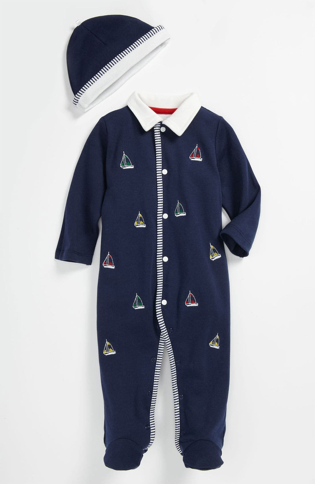 Alternate Image 1 Selected - Little Me 'Drop Anchor Yachting' Romper & Hat (Baby)
