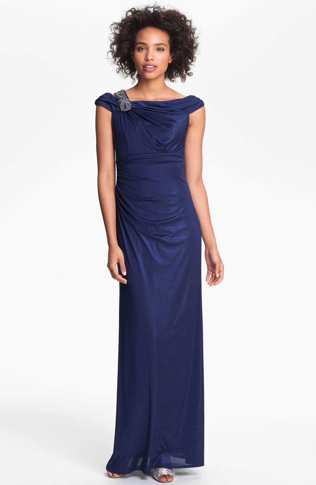Alternate Image 1 Selected - David Meister Embellished Off Shoulder Gown