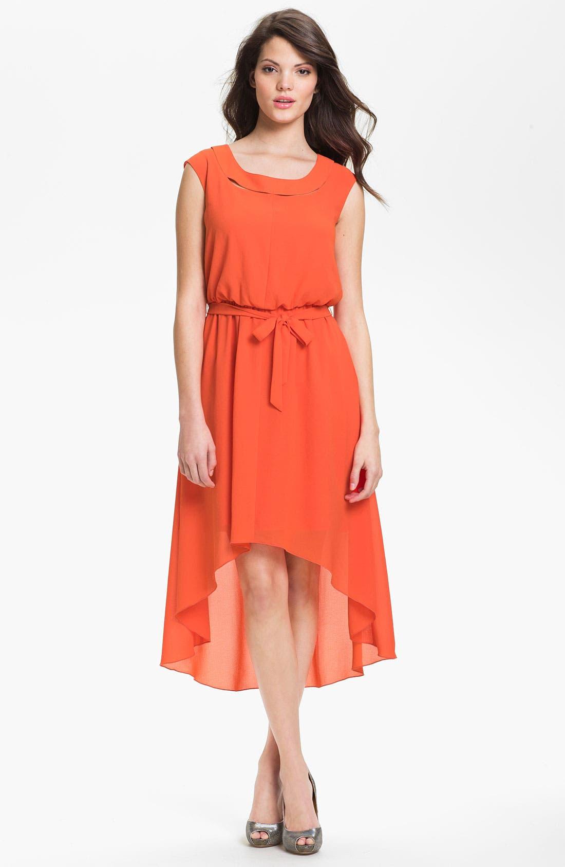 Main Image - Jessica Simpson Blouson High/Low Crepe Dress