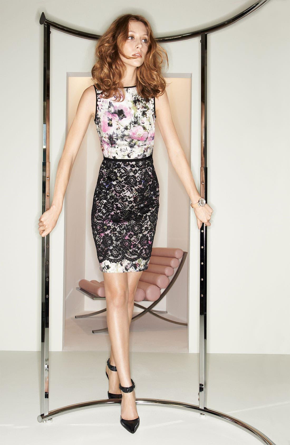 Alternate Image 2  - Maggy London Print Lace Overlay Sheath Dress
