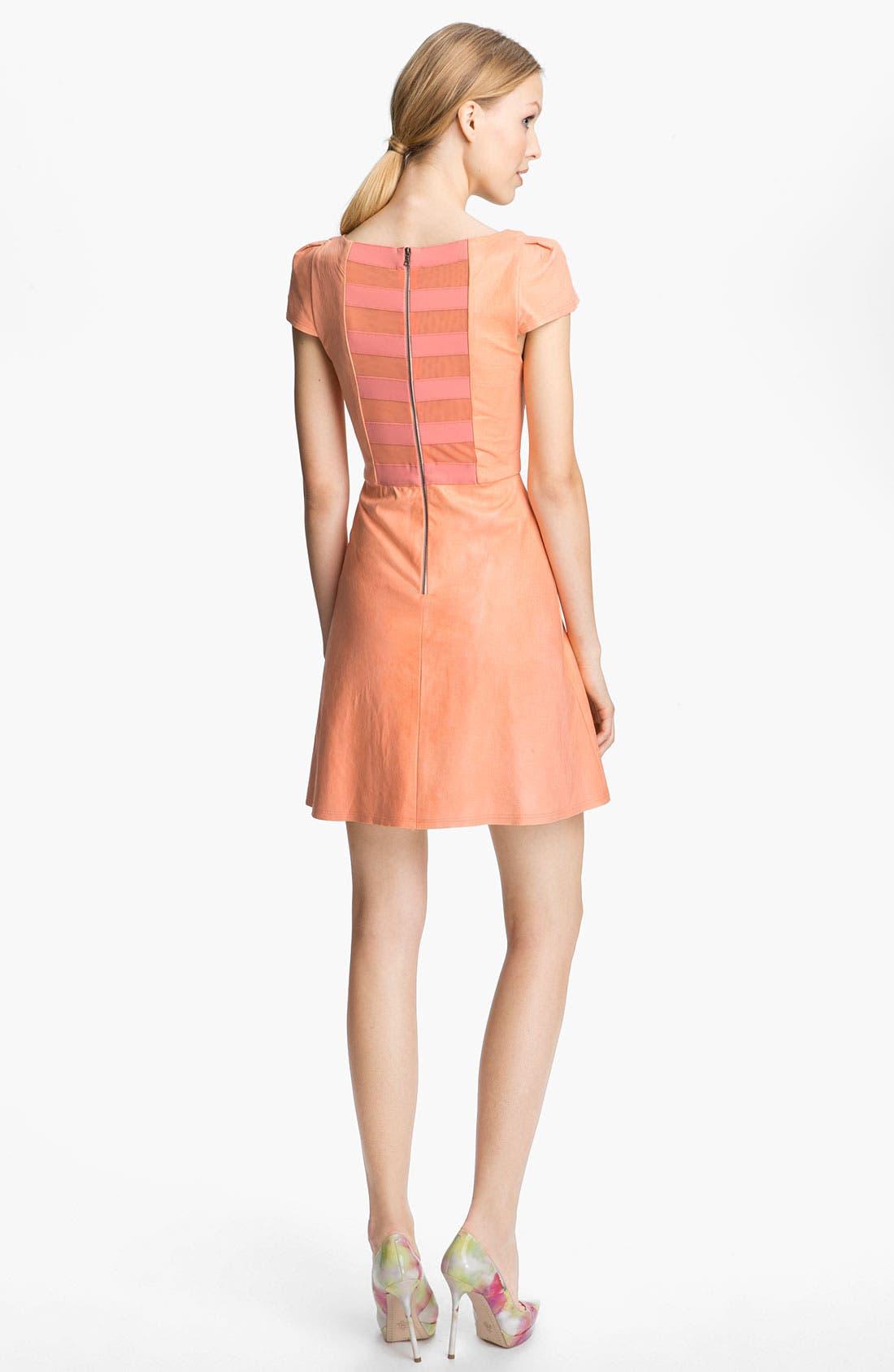Alternate Image 2  - Alice + Olivia Leather A-Line Dress