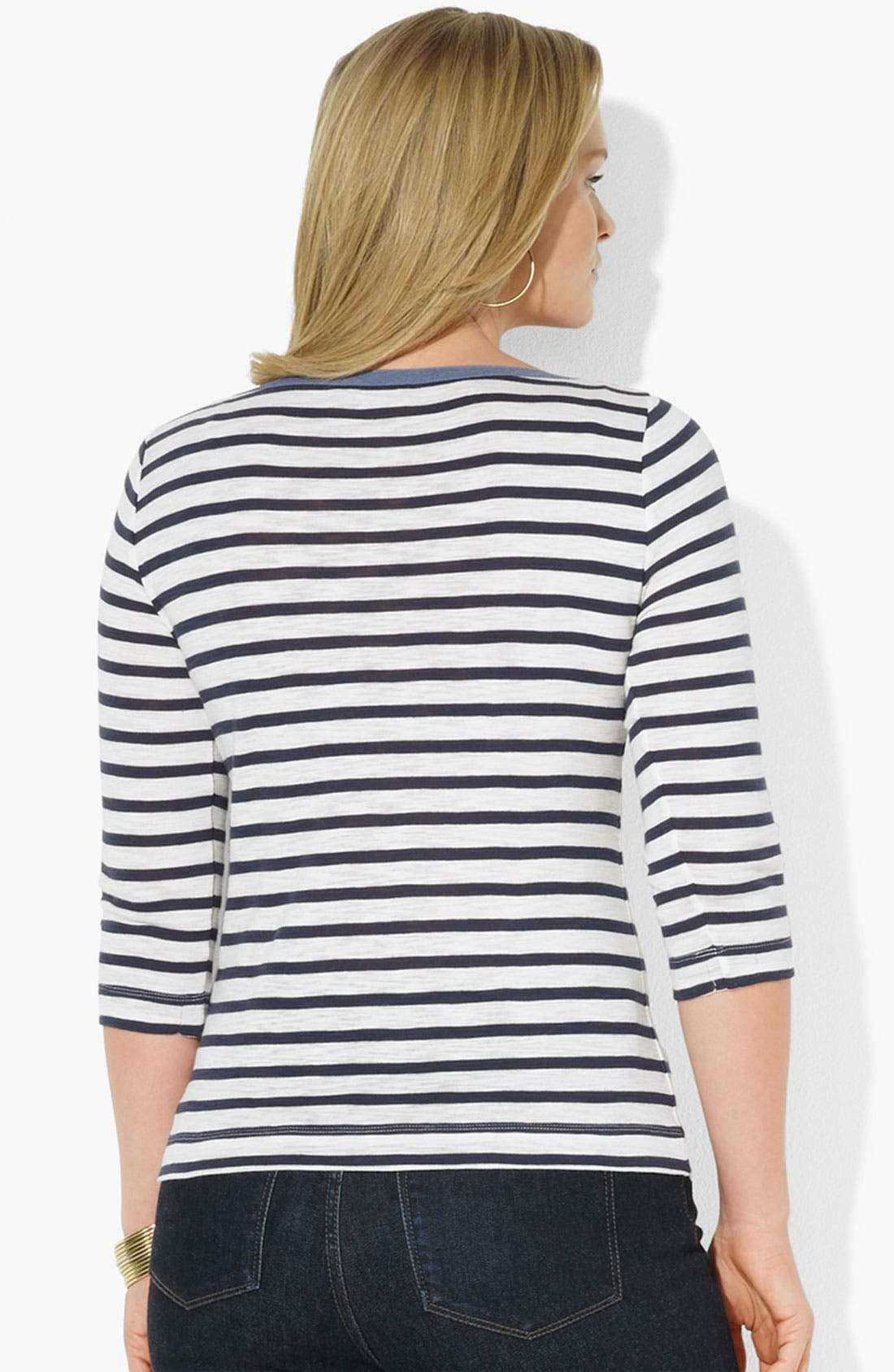 Alternate Image 2  - Lauren Ralph Lauren Zip Shoulder Stripe Tee (Plus)
