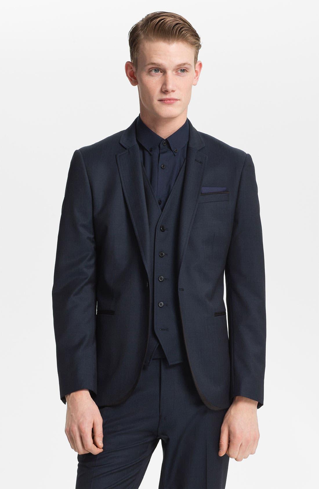Alternate Image 1 Selected - Topman 'Bogart' Skinny One Button Blazer