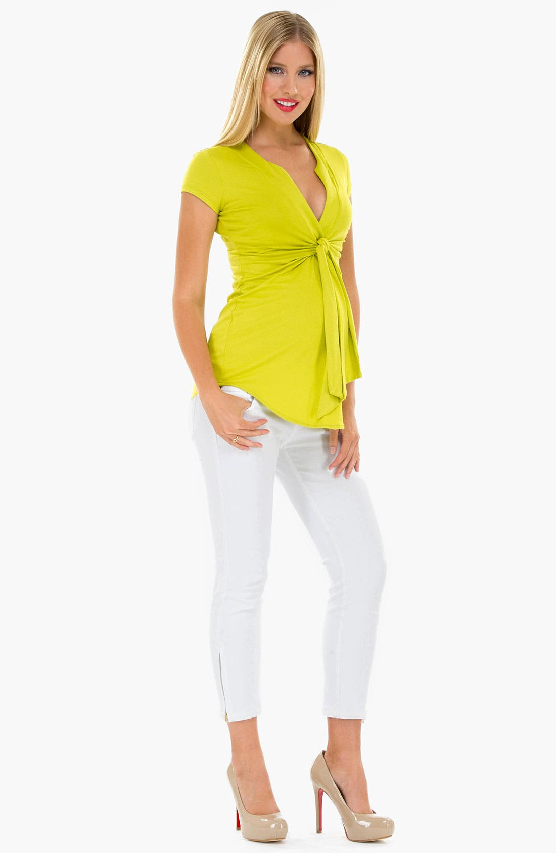 Main Image - Olian Knot Front Sleeveless Maternity Top