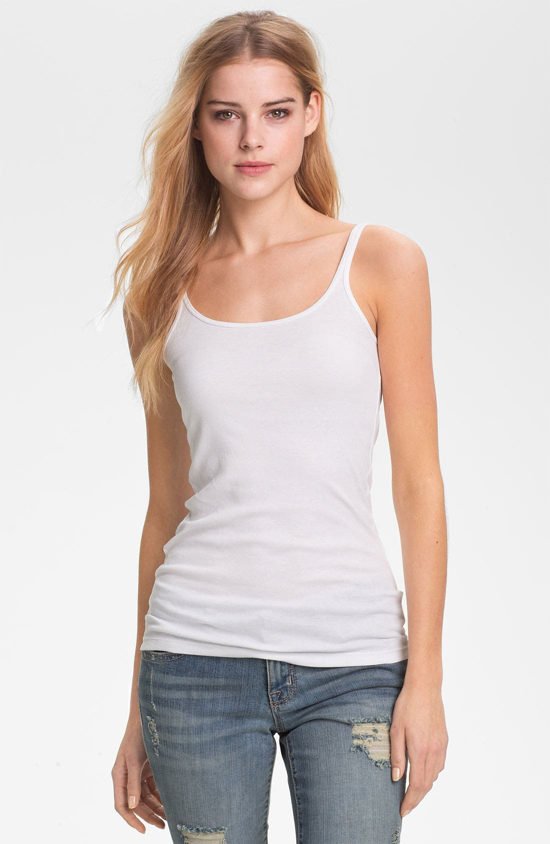 Skinny Strap Tank,                         Main,                         color, White