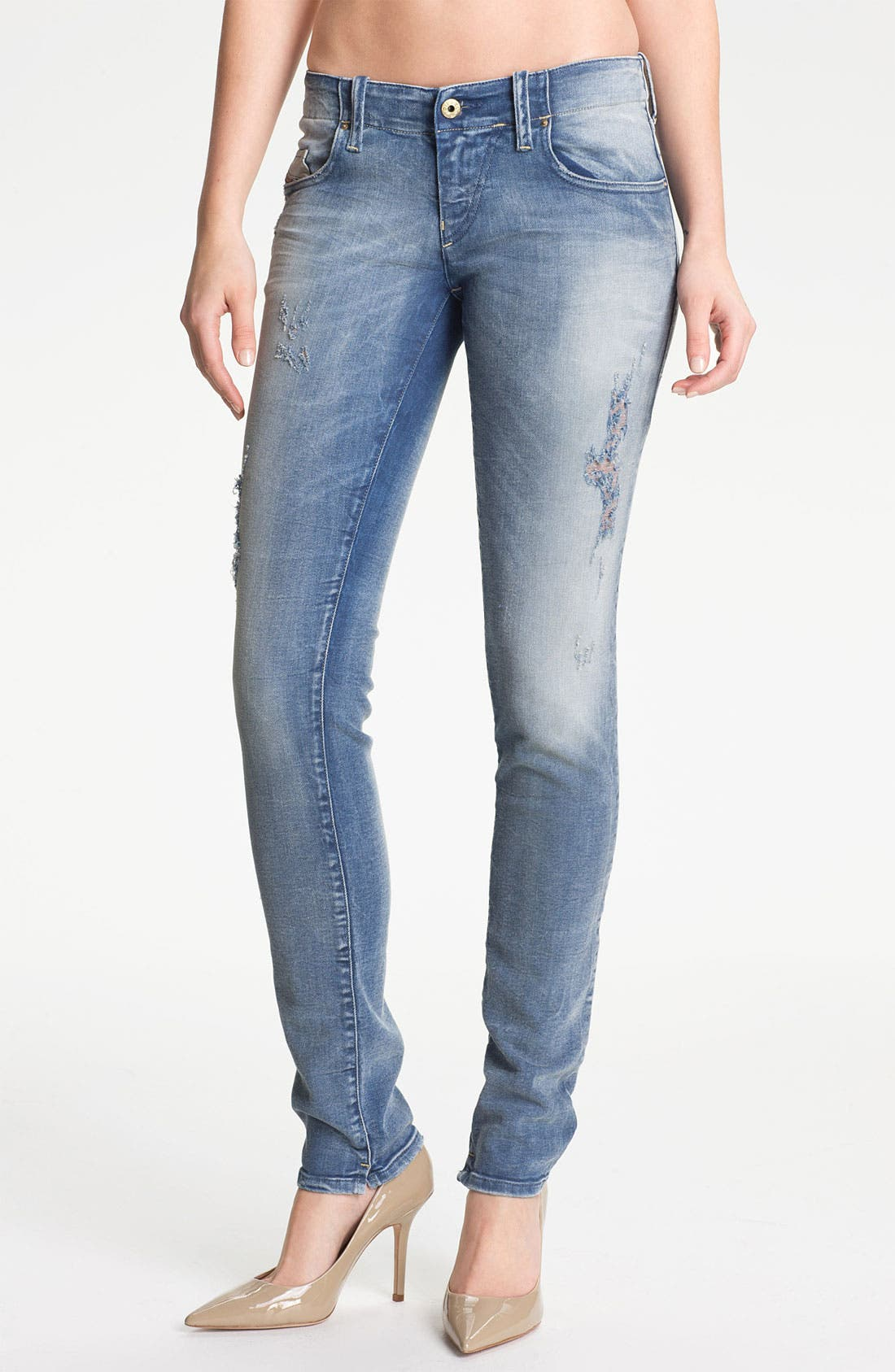 Alternate Image 1 Selected - DIESEL® 'Grupee' Distressed Denim Skinny Jeans (Blue Distressed)