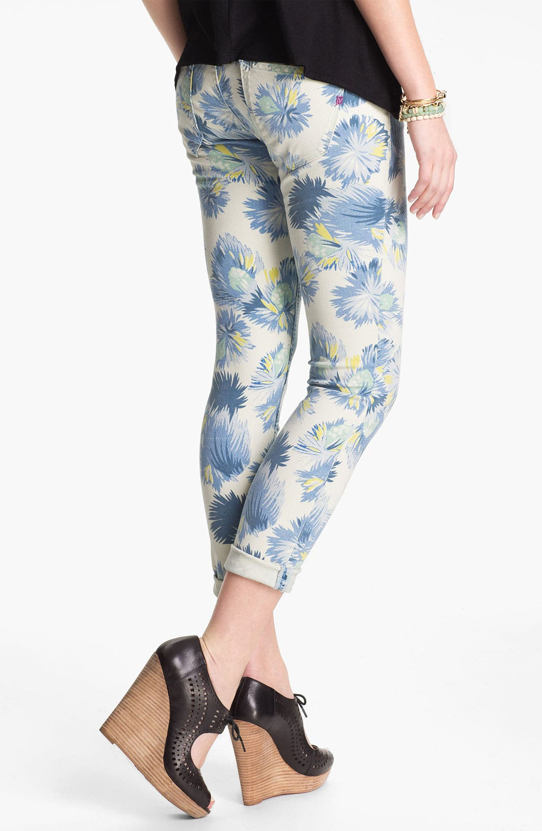 Main Image - Vigoss 'Thompson' Print Crop Skinny Jeans (Juniors)