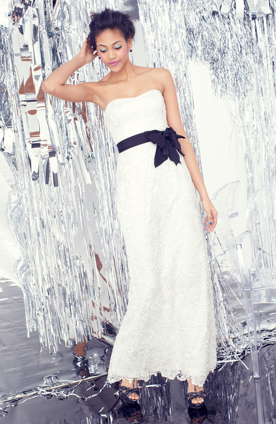 Alternate Image 4  - Adrianna Papell Strapless Lace Gown
