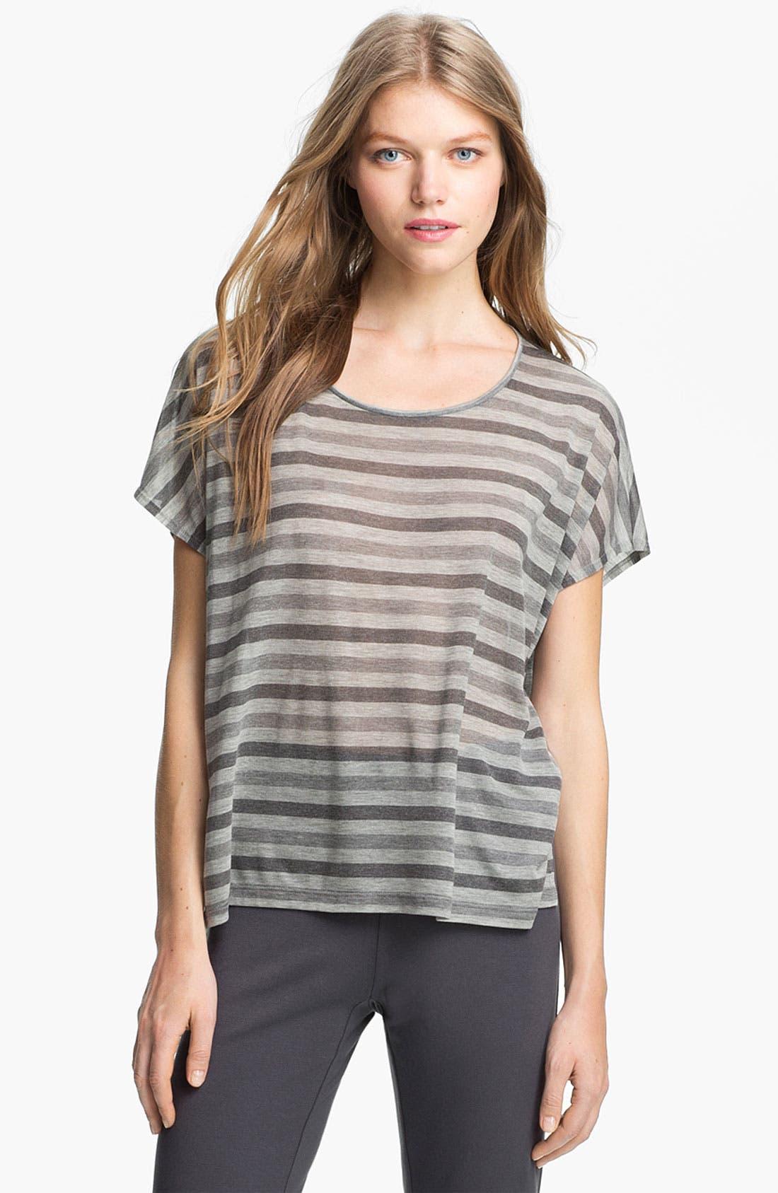 Alternate Image 1 Selected - Eileen Fisher Scoop Neck Stripe Top