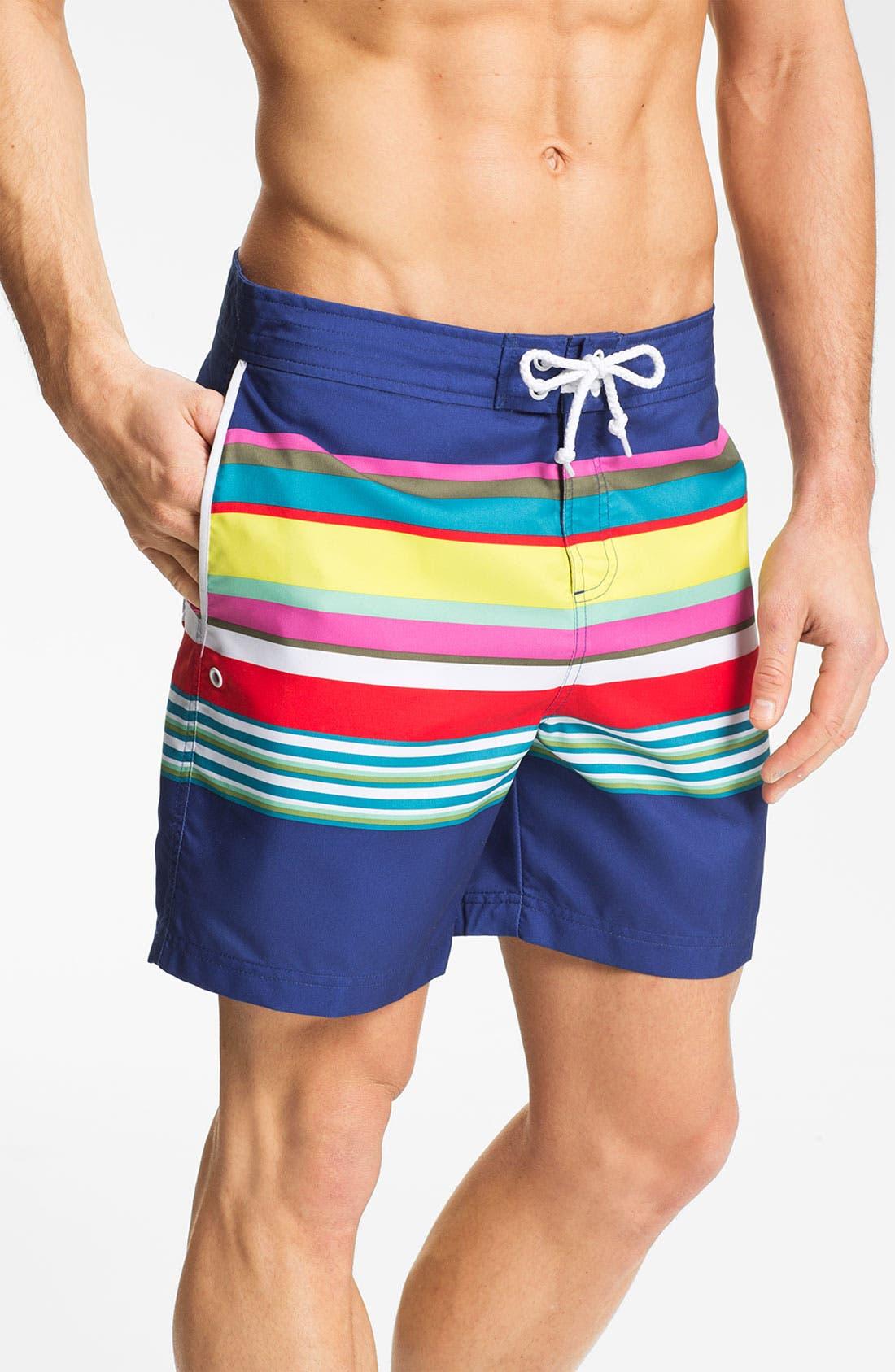 Main Image - Original Penguin Stripe Swim Shorts