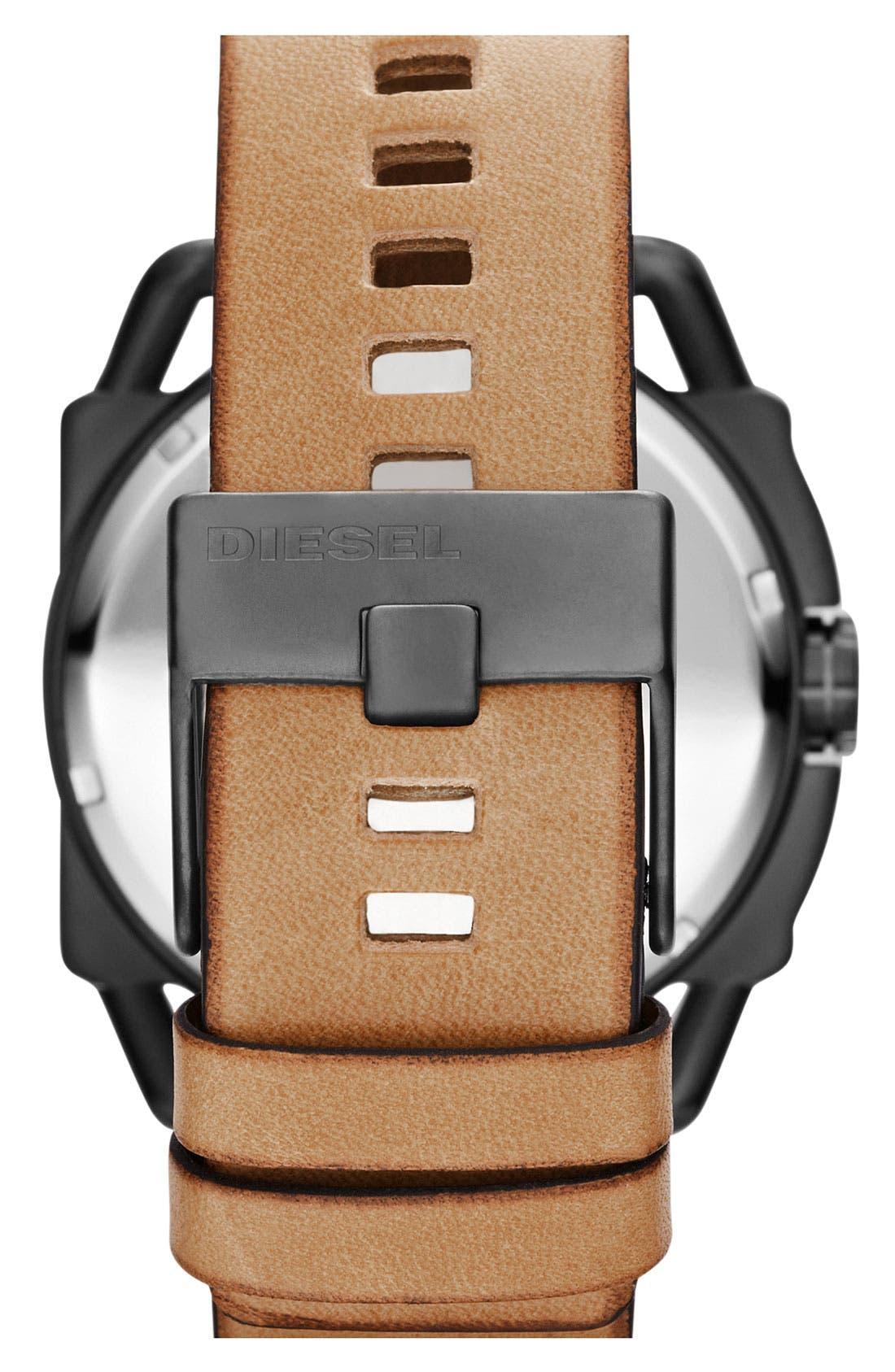 Alternate Image 3  - DIESEL® 'Descender' Leather Strap Watch, 50mm