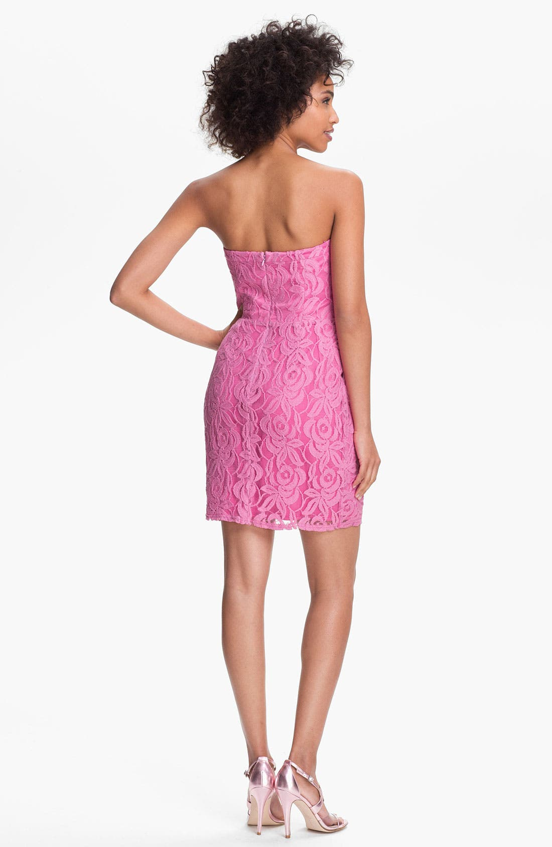 Alternate Image 2  - Jessica Simpson Strapless Ruffled Lace Dress