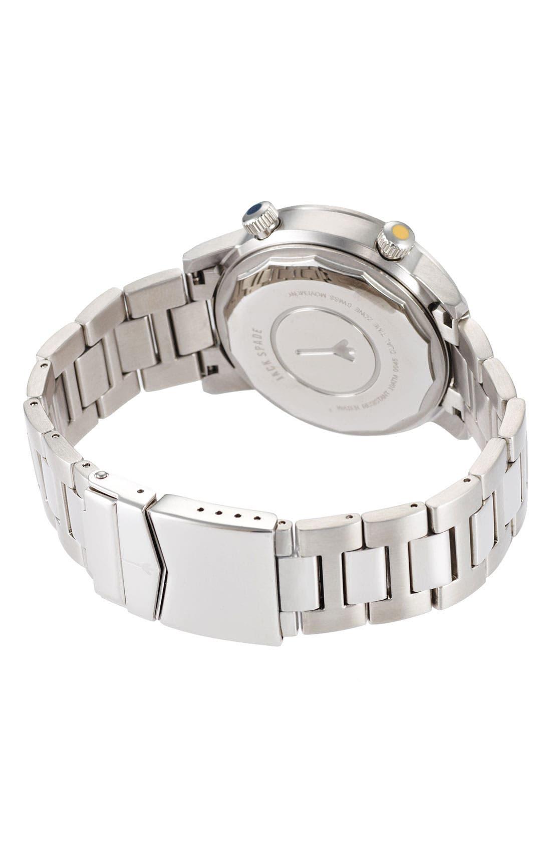 Alternate Image 2  - Jack Spade 'Cortlandt' Dual Time Bracelet Watch, 43mm