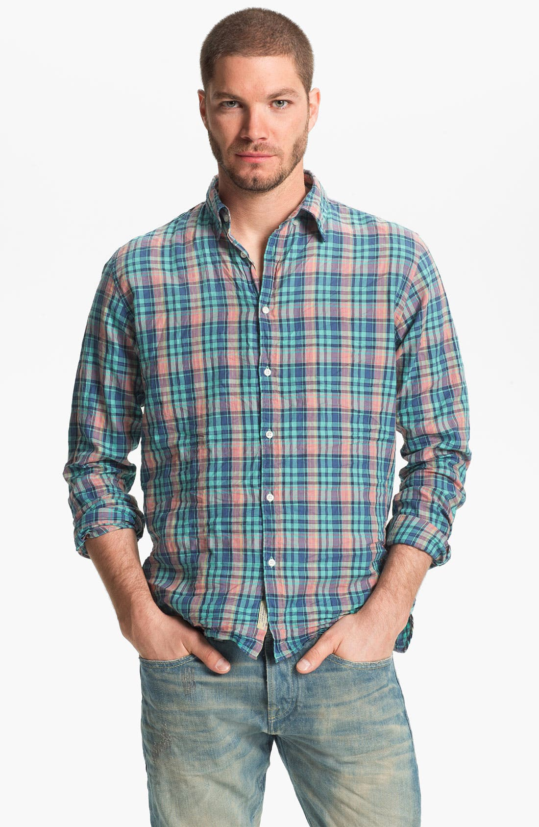 Alternate Image 1 Selected - Scotch & Soda Plaid Woven Shirt