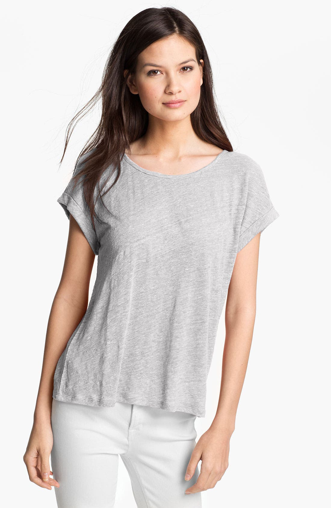 Alternate Image 1 Selected - Eileen Fisher Mélange Linen Jersey Top