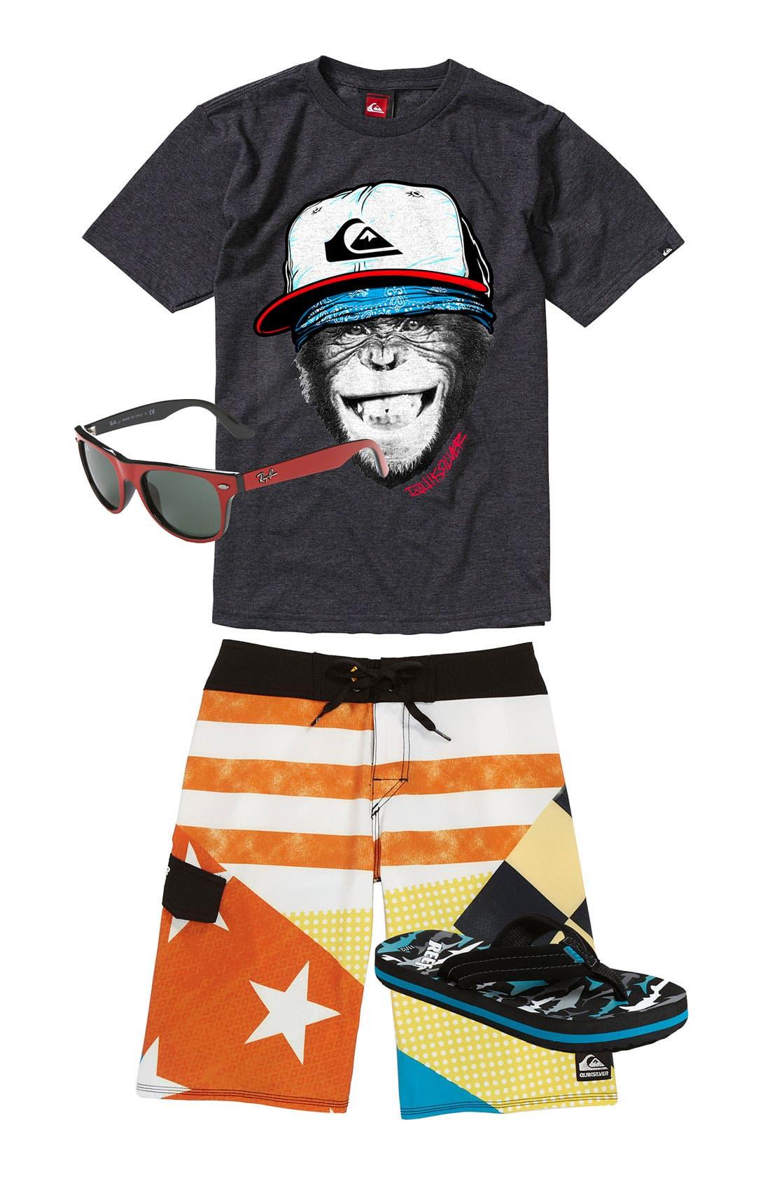 Alternate Image 1 Selected - Quiksilver T-Shirt & Board Shorts & Ray-Ban Sunglasses (Big Boys)