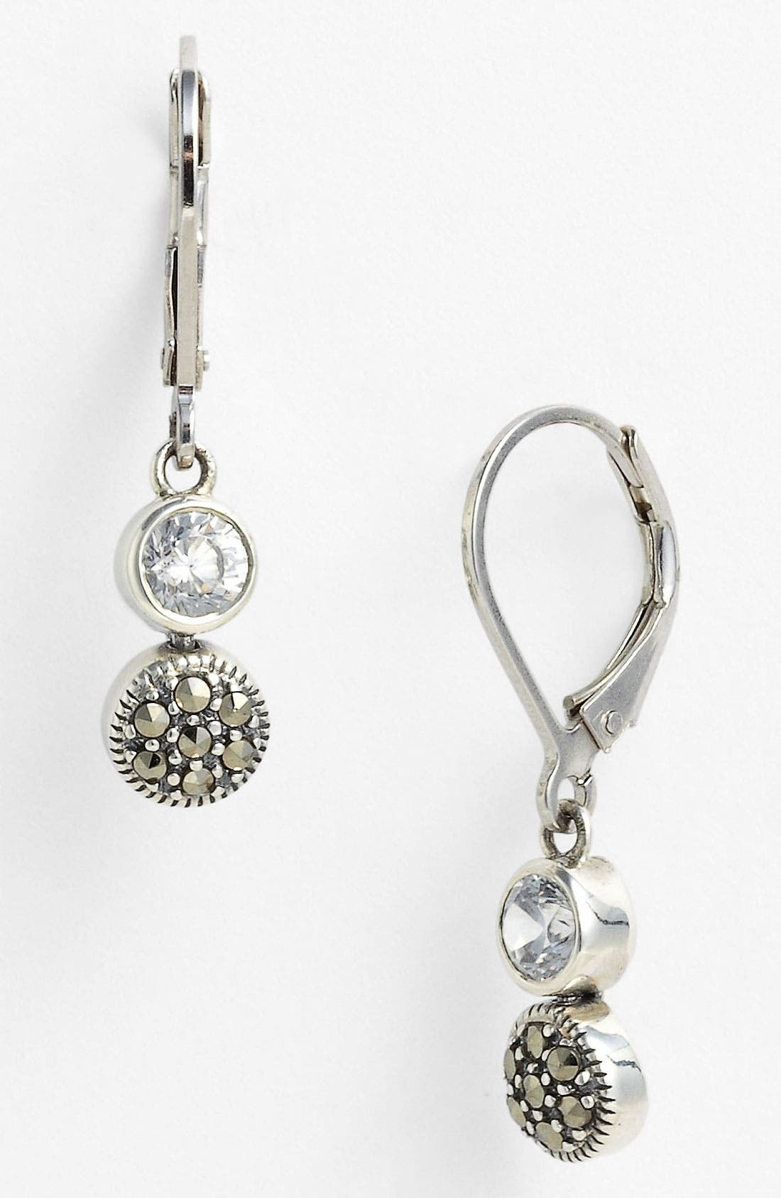 Marcasite Earrings,                         Main,                         color, Silver