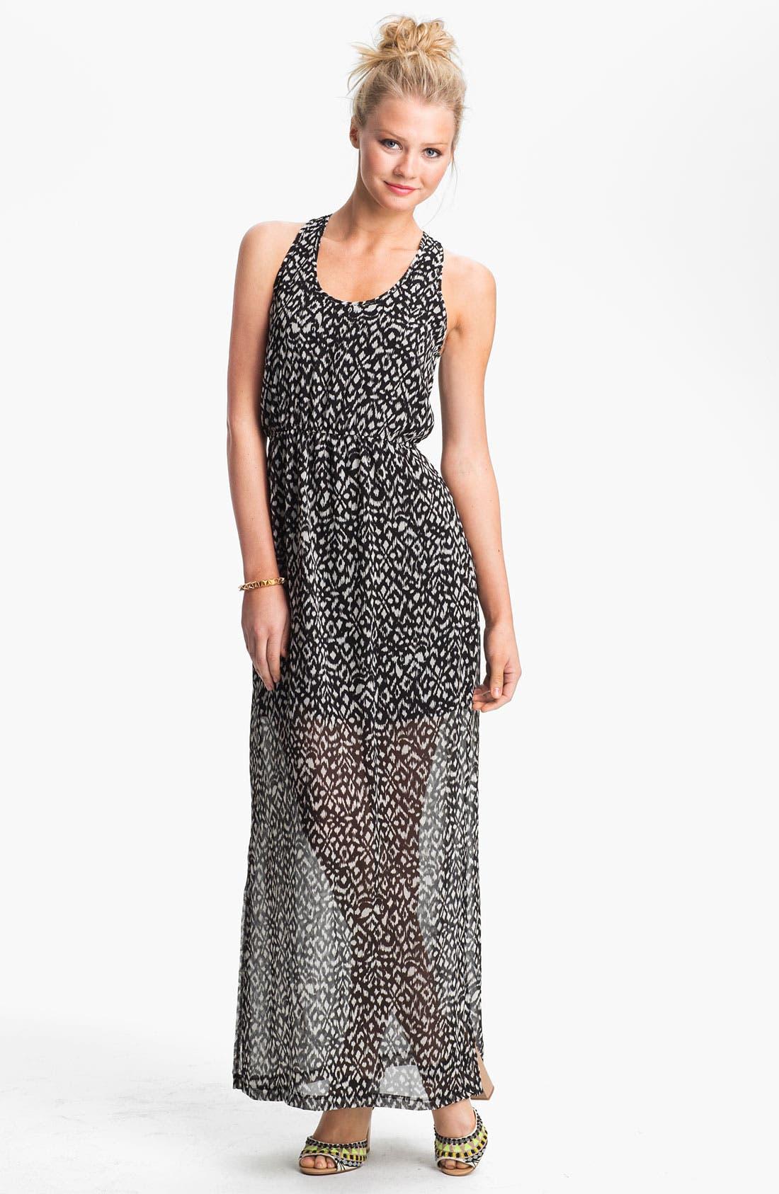 Main Image - dee elle Keyhole Back Print Chiffon Maxi Dress (Juniors)