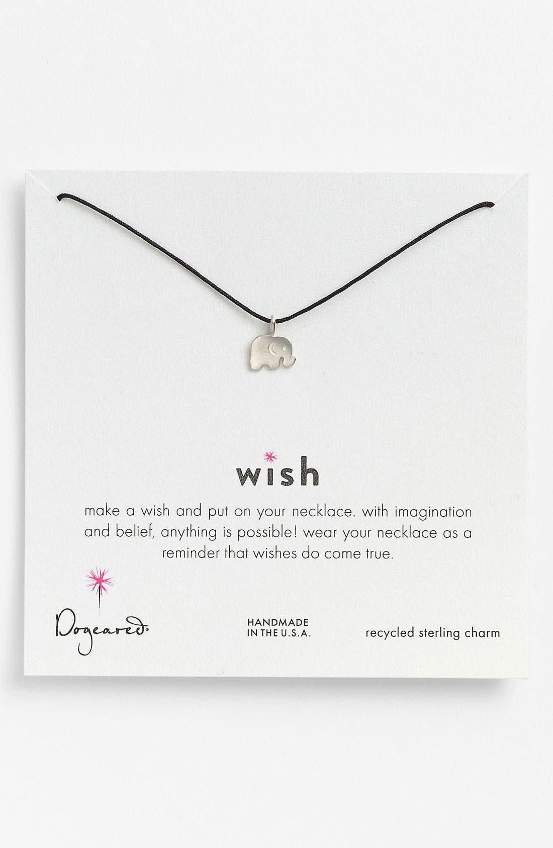Main Image - Dogeared 'Wish' Elephant Charm Necklace