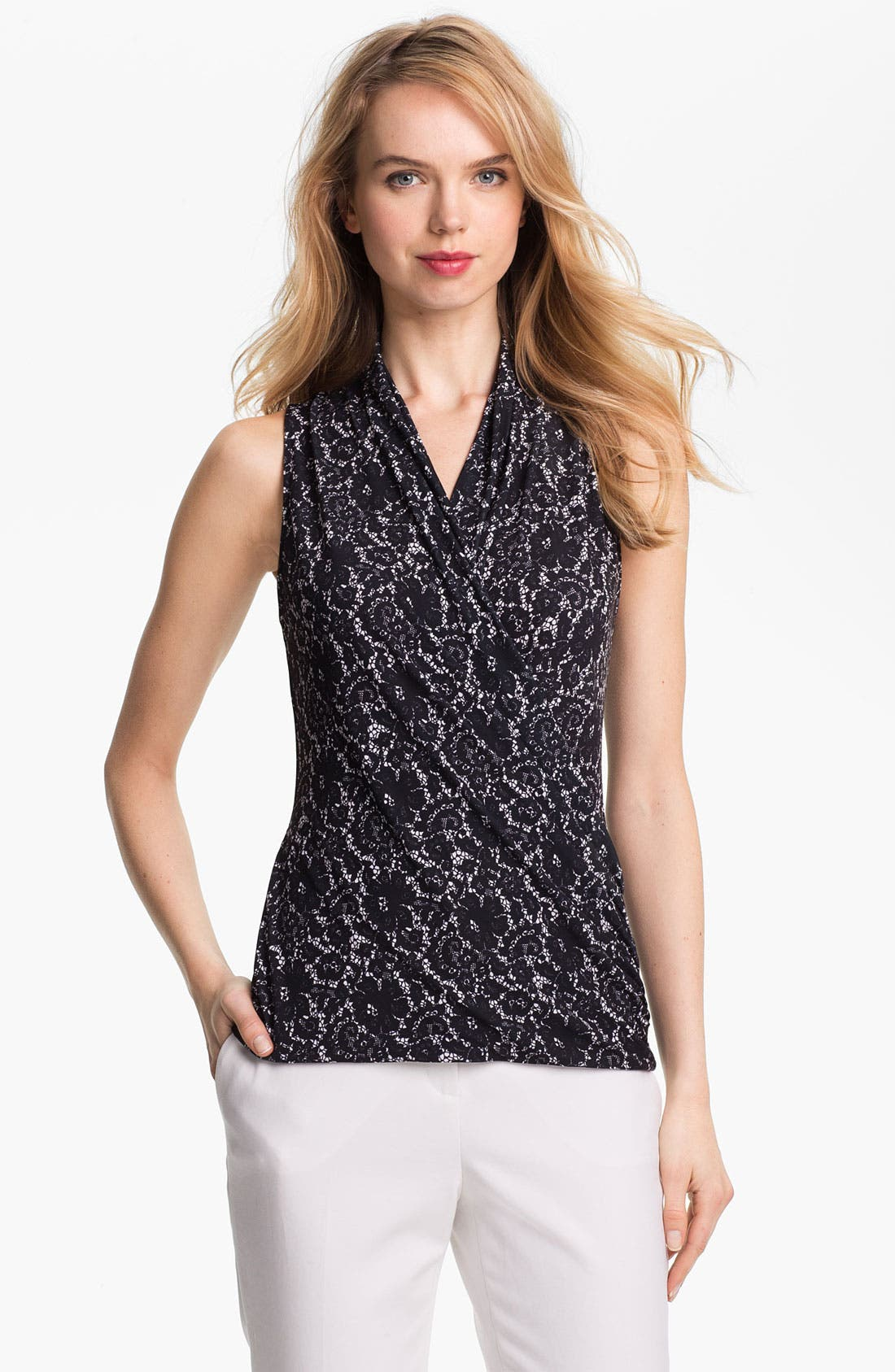 Alternate Image 1 Selected - Vince Camuto Lace Faux Wrap Top
