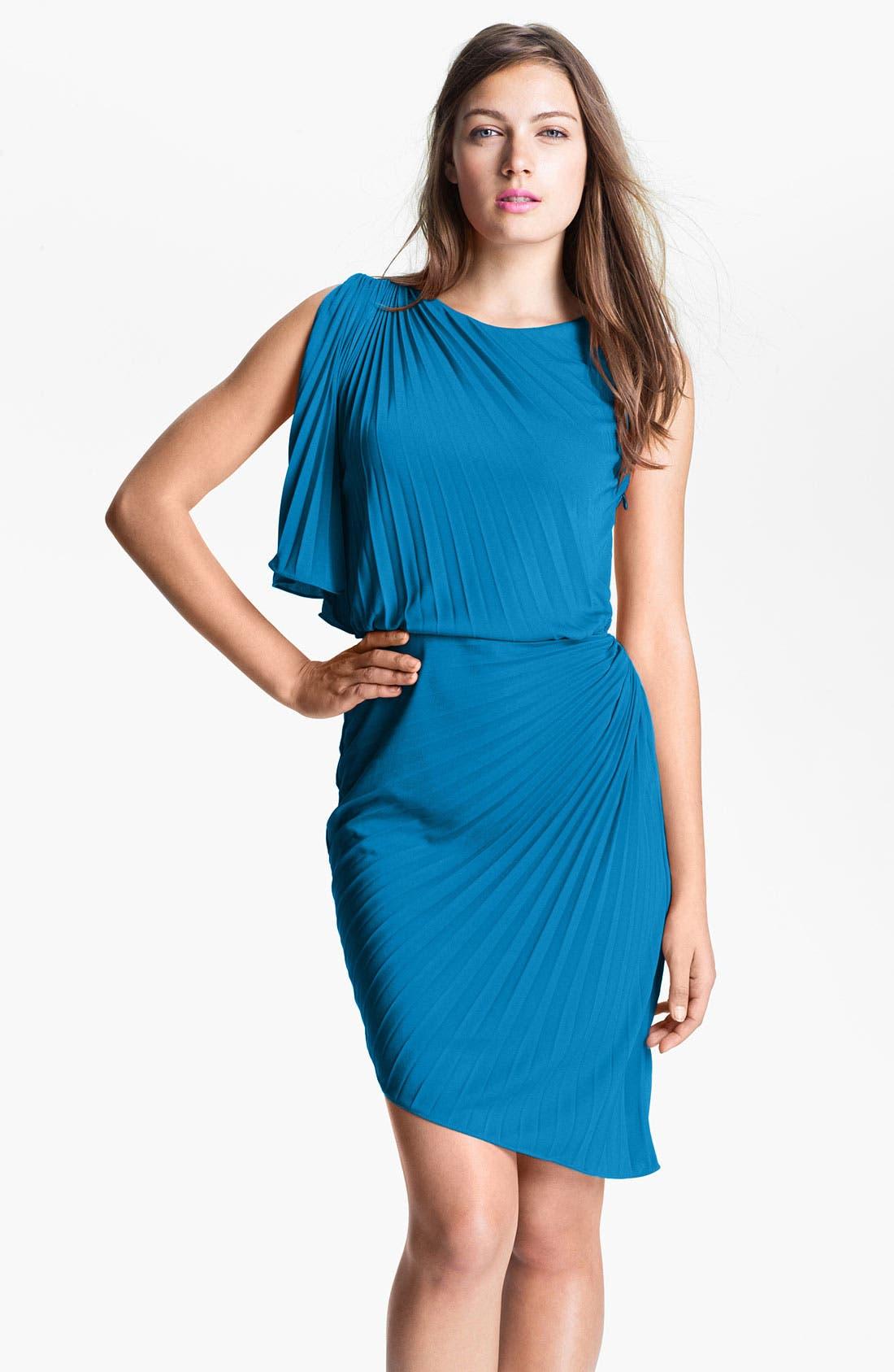 Main Image - Halston Heritage Asymmetrical Pleat Blouson Dress