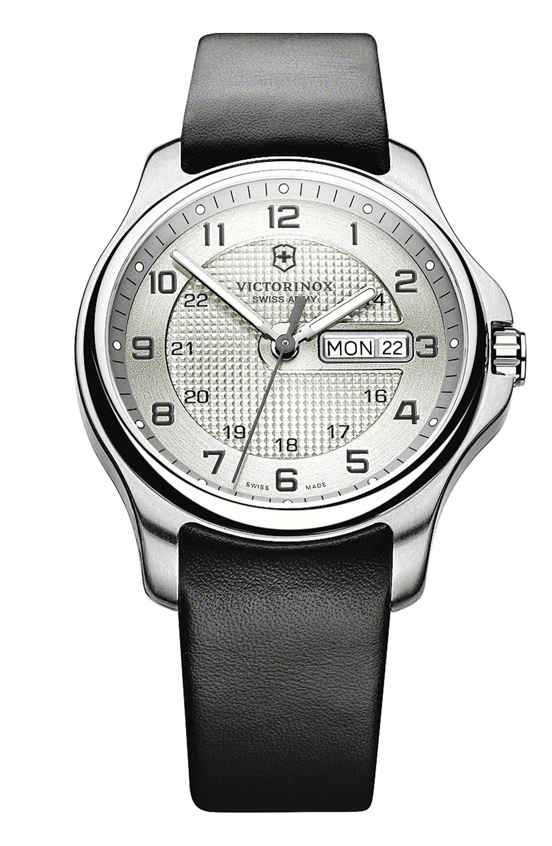 Alternate Image 2  - Victorinox Swiss Army® 'Officer's' Leather Strap Watch with Knife, 40mm