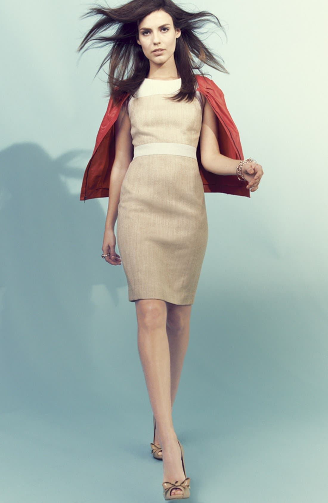 Main Image - Classiques Entier Leather Jacket & Tweed Dress
