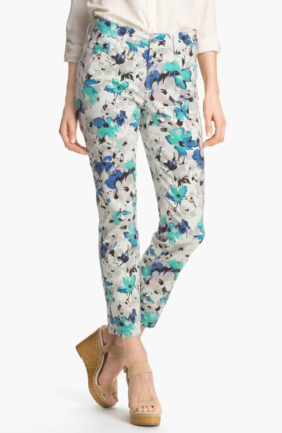 Main Image - NYDJ 'Alisha' Floral Print Skinny Stretch Ankle Jeans