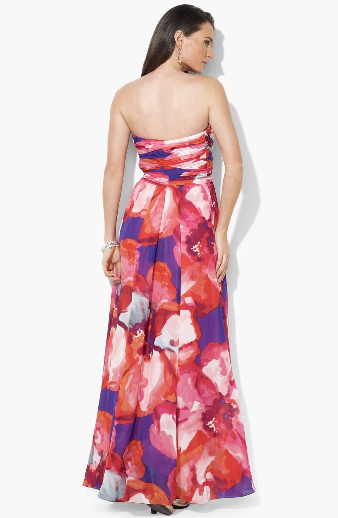 Alternate Image 2  - Lauren Ralph Lauren Strapless Print Chiffon Gown
