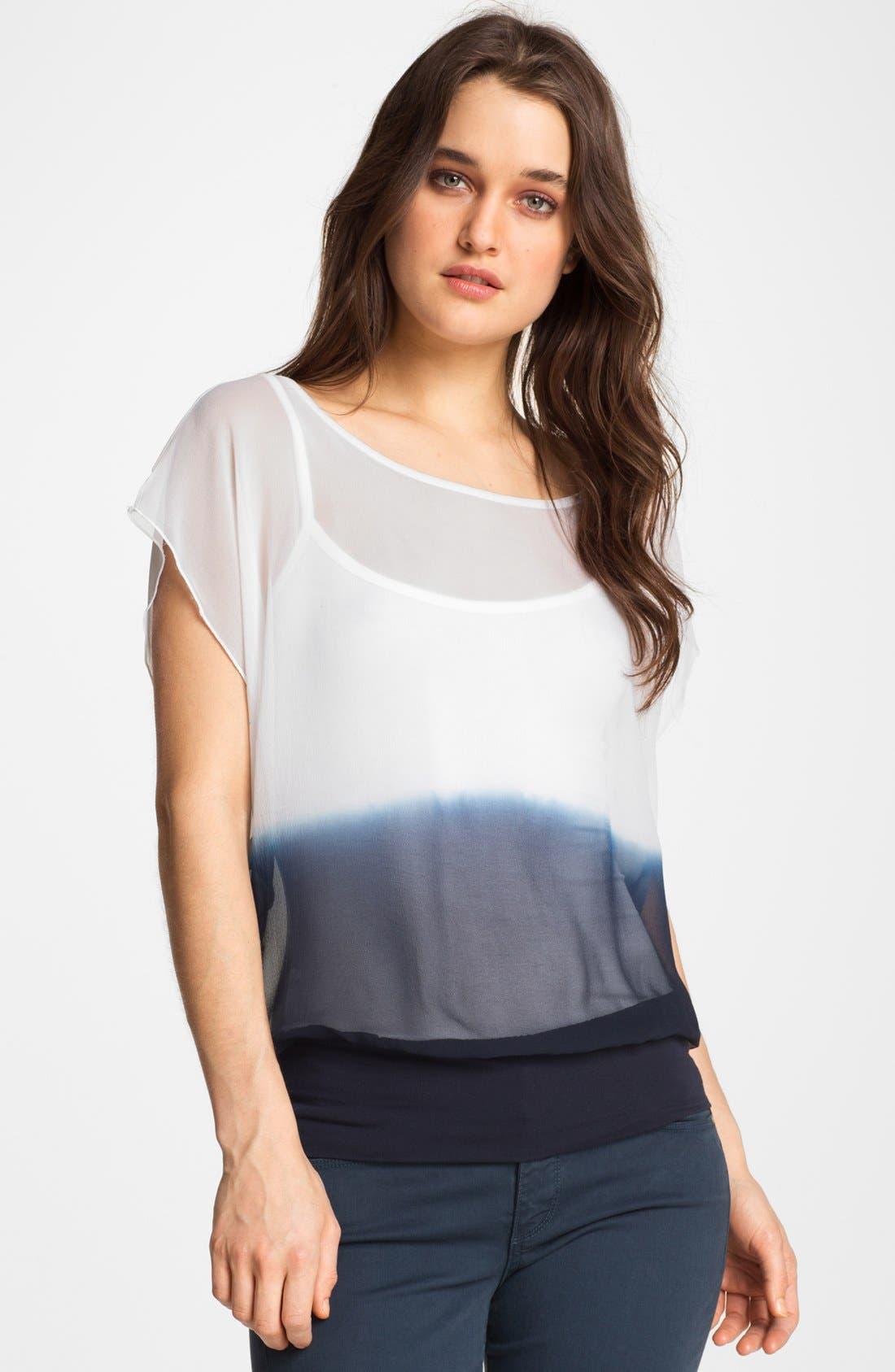 'Sunrise' Dip Dye Blouson Top,                         Main,                         color, White/ Navy
