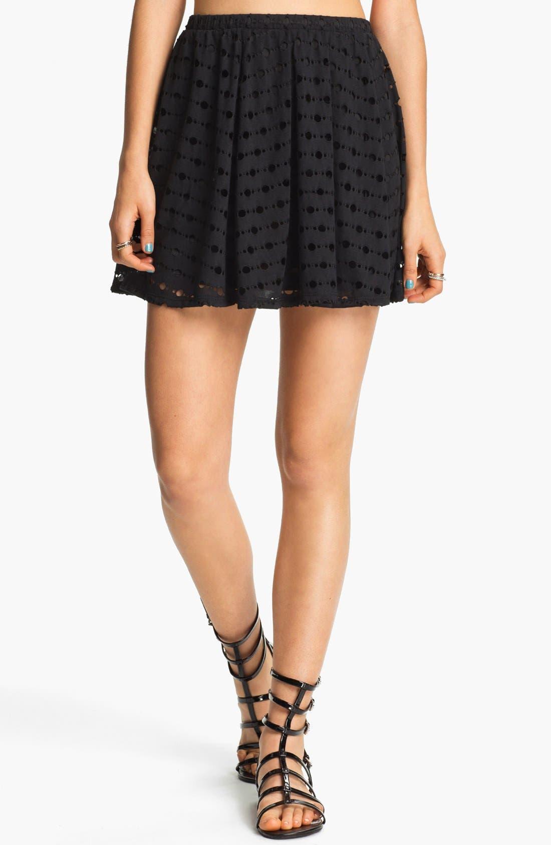 Alternate Image 1 Selected - h.i.p. 'Deconstructed' Skater Skirt (Juniors)