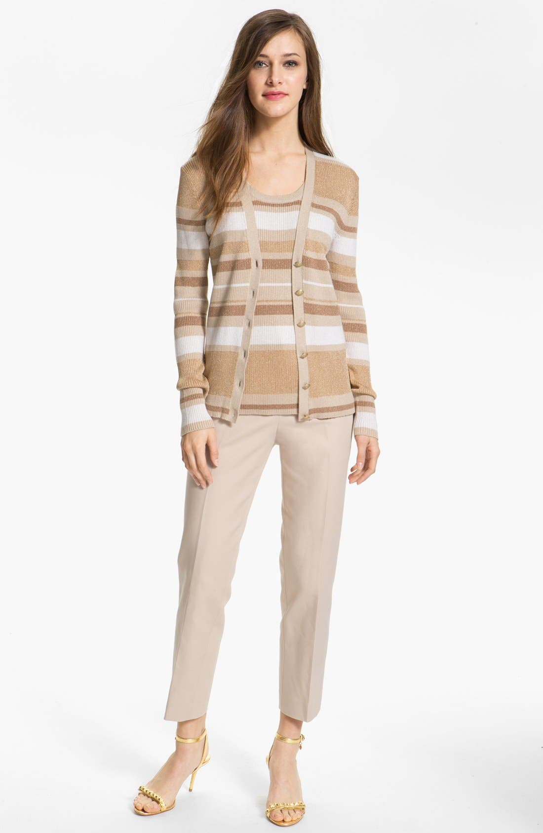 Alternate Image 2  - Anne Klein Stripe V-Neck Cardigan