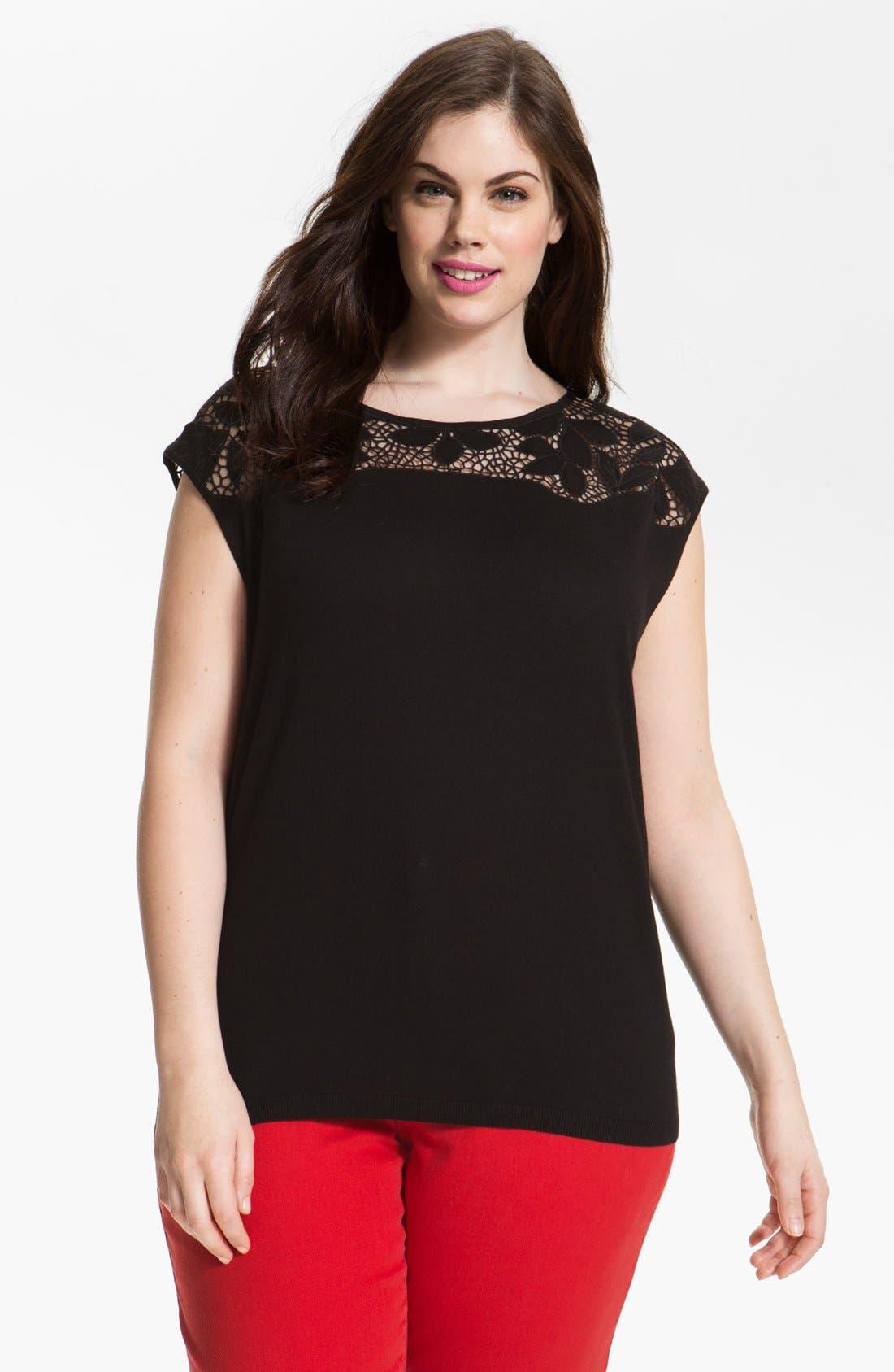 Main Image - DKNYC Lace Yoke Top (Plus Size)