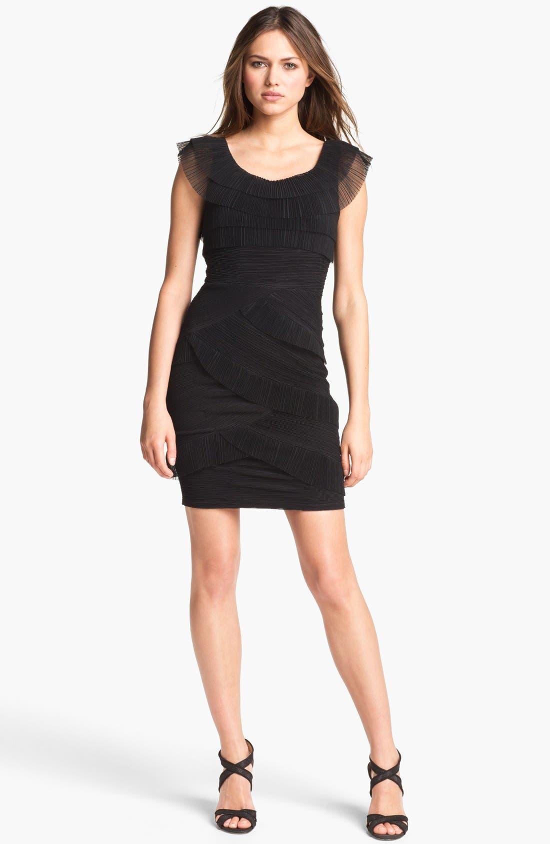 Main Image - BCBGMAXAZRIA Ruched Mesh Tier Dress