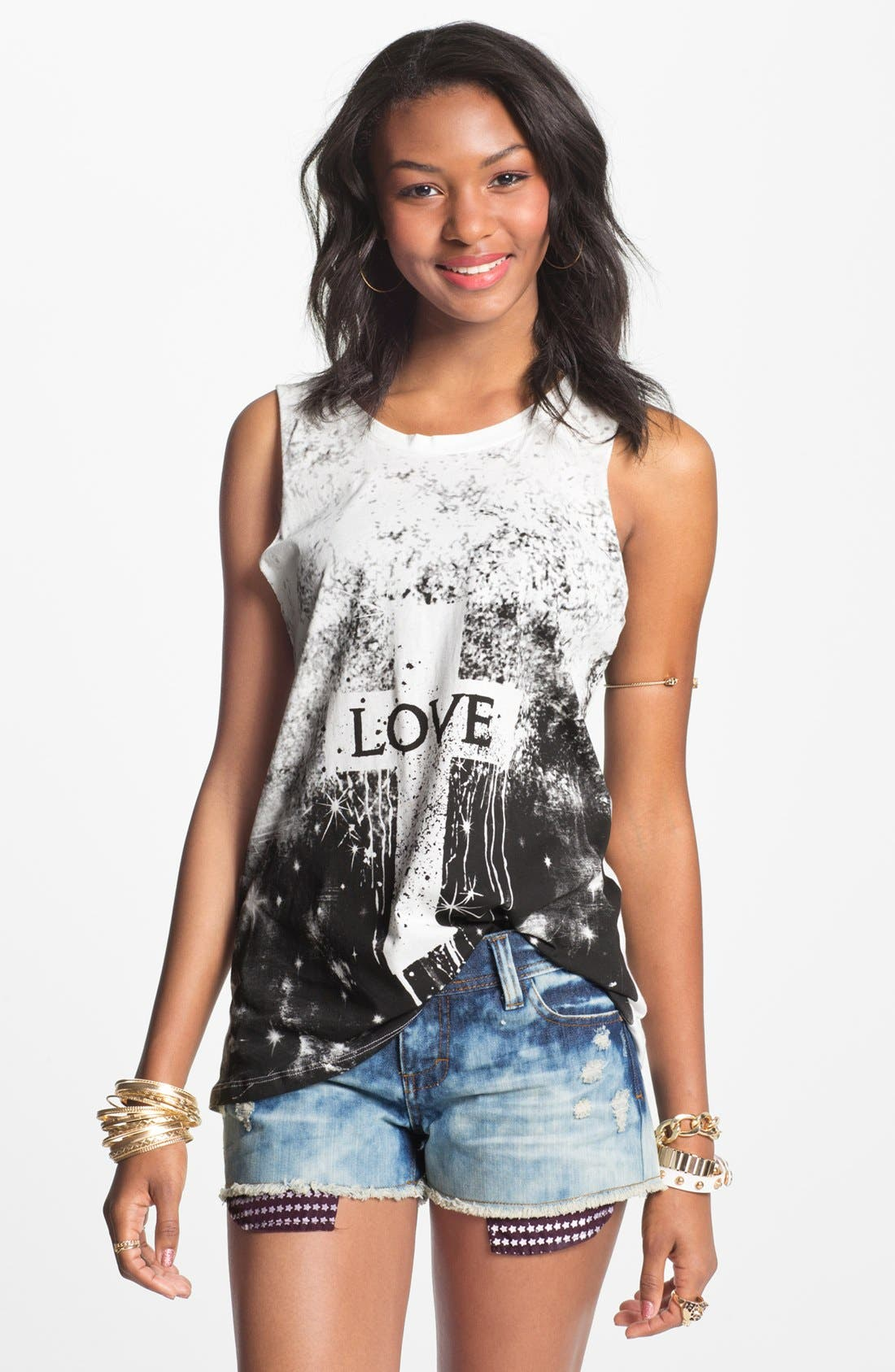 Alternate Image 1 Selected - Haute Society 'Love' Twist Cutout Muscle Tee (Juniors)