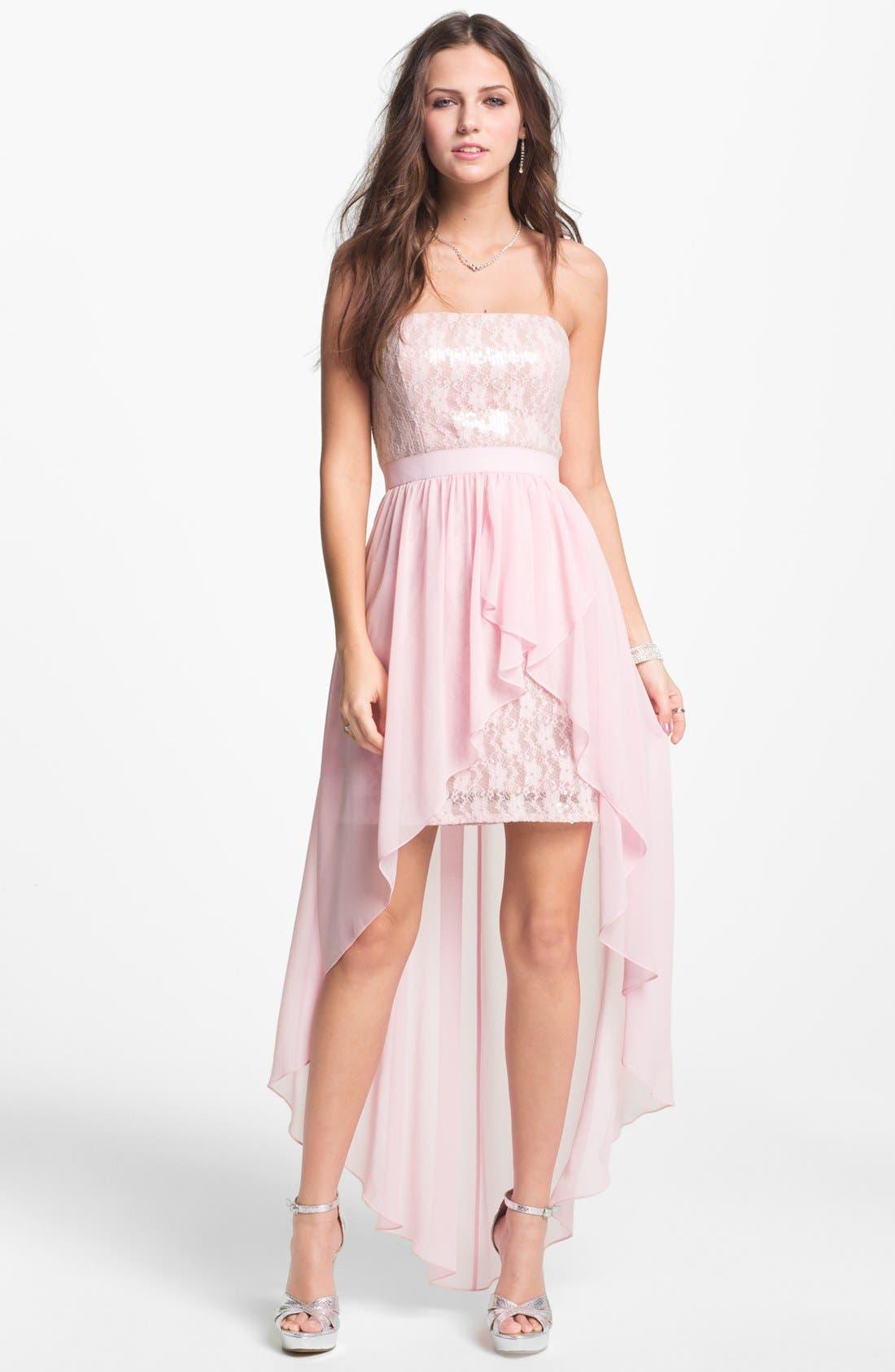Alternate Image 1 Selected - Aidan Mattox Embellished Lace & Chiffon High/Low Dress