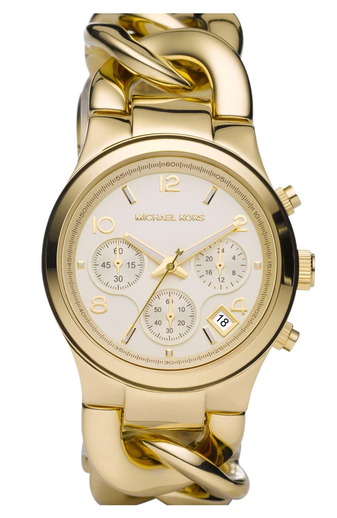 Michael Kors Chain Bracelet Chronograph Watch, 38mm,                         Main,                         color, Gold