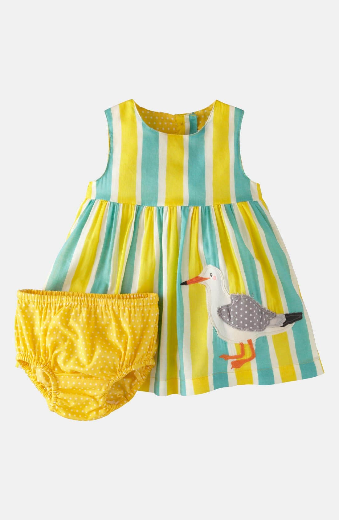 Main Image - Mini Boden 'Printed Appliqué' Dress & Bloomers (Baby)