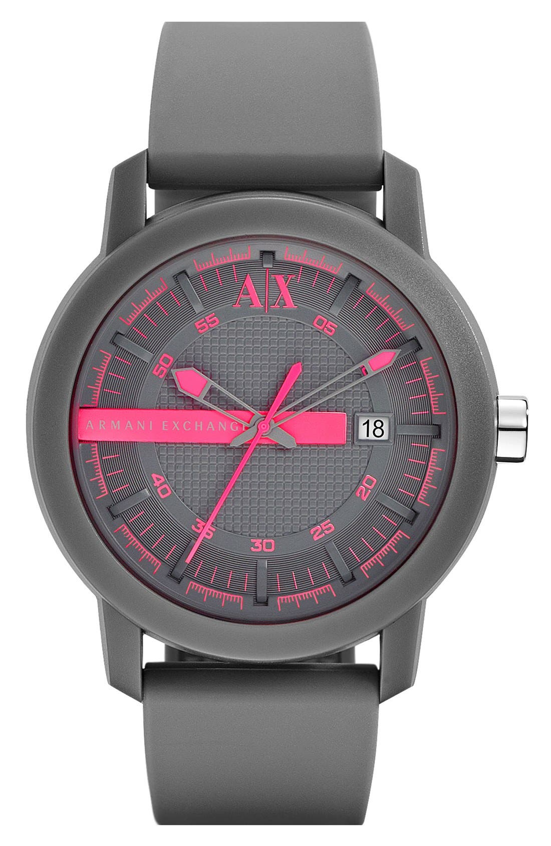 Alternate Image 1 Selected - AX Armani Exchange Logo Bar Silicone Strap Watch, 44mm