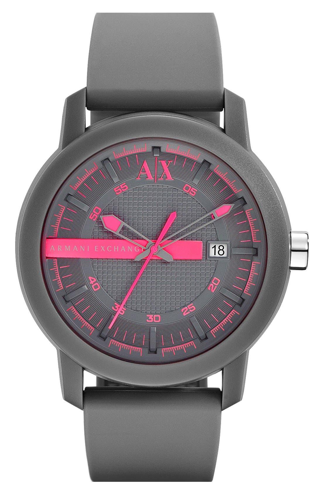 Main Image - AX Armani Exchange Logo Bar Silicone Strap Watch, 44mm