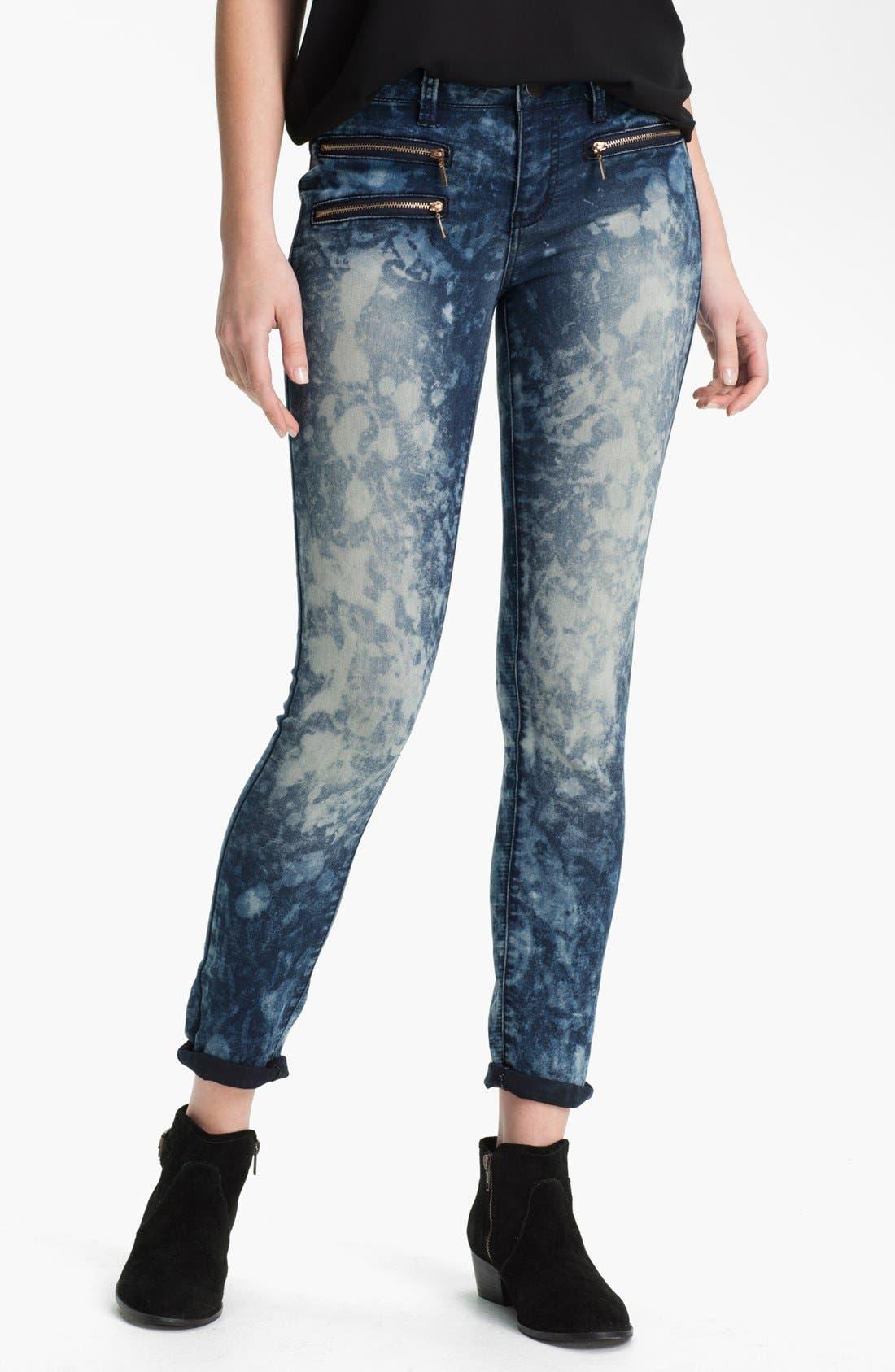 Main Image - Fire Acid Marble Skinny Biker Jeans (Juniors)